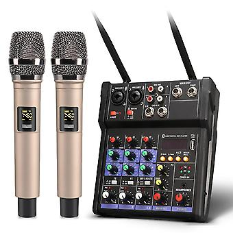 4 Channel Audio Mixer With Built Wireless Microphone Bluetooth Usb Record Sound