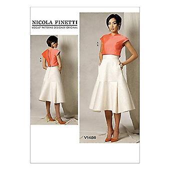 Vogue Sewing Pattern 1486 se pierde las faldas superiores tamaño 6-14 diseñador