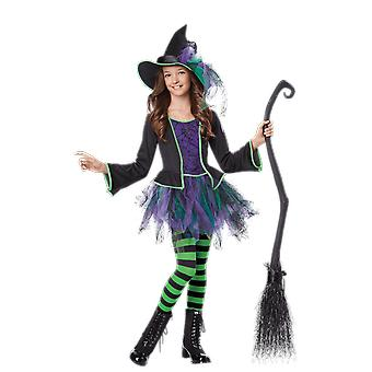 Girls Age 4 - 6 Years Witches Costume With Hat Halloween Book Day Fancy Dress