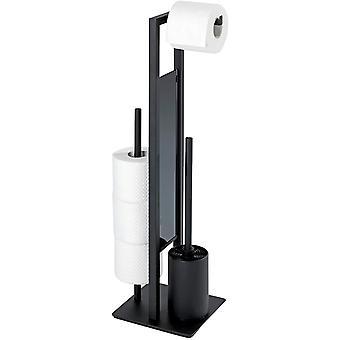 HanFei Stand WC-Garnitur Rivalta Schwarz matt - WC-Brstenhalter, Stahl, 18 x 70 x 23 cm, Schwarz