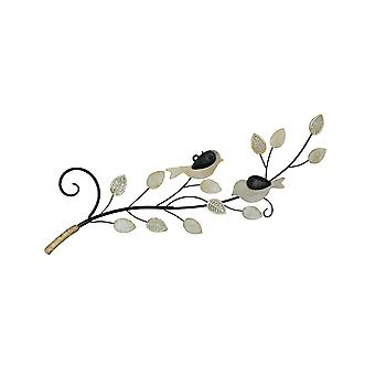 Wood and Metal Birds on a Branch Decorative Wall Sculpture 30 Inches Long