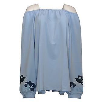 DG2 By Diane Gilman Women's Top Embroidered Sleeve Peasant Blue 710158