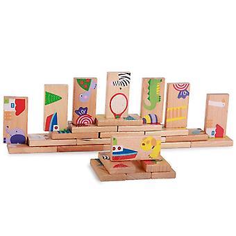 Træ Animal Game Uddannelse Jielong Domino