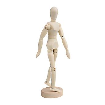 Wood 8Inch Artist Drawing Manikin Articulated Mannequin with Base and Flexible Body