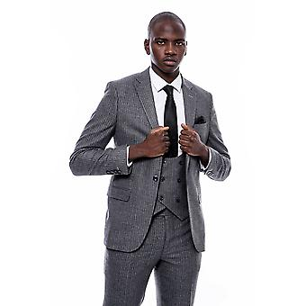 Striped grey double breasted suit
