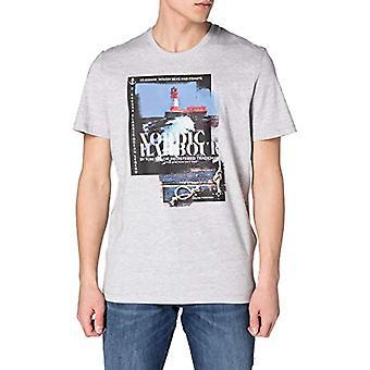 Tom Tailor 1024920 Print T-Shirt, 15398-Light Stone Grey Mel, S Homme