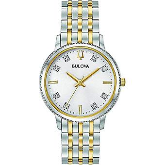 Bulova Analoge Horloge Quartz Dames met Roestvrij Staal Band 98P189