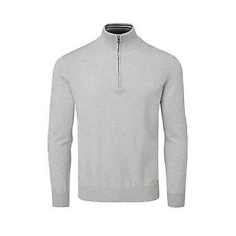 Oscar Jacobson Mens Knit Jumper Polo Long Sleeve Half Zip Sweater Top