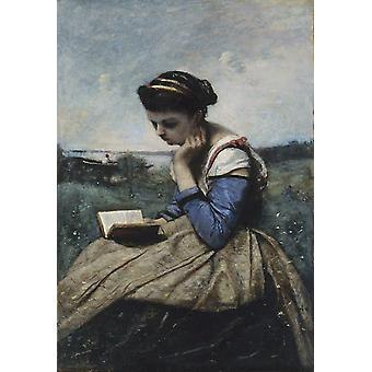 Woman Reading In A Landscape,camille Corot Art Reproduction.realism Style Modern Hd Art Print Poster,canvas Prints Wall Art For Home Decor Pictures (u