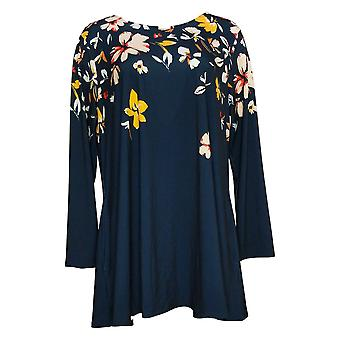 """Antthony Women's Top """"All For You"""" Long-Sleeve Printed Tunic Blue 727483"""