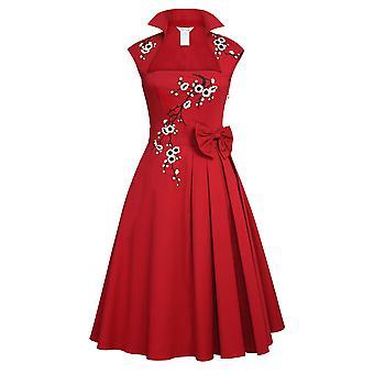 Chic Star Applique Bue Kjole i rødt