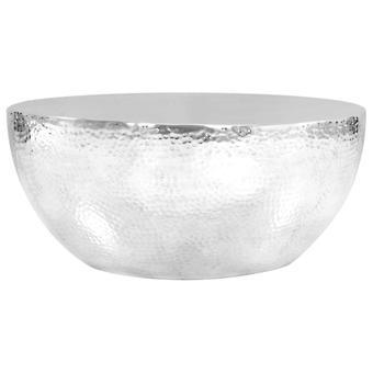 vidaXL kahvipöytä, valmistettu vasaroitua alumiinia 70 x 30 cm hopeaa