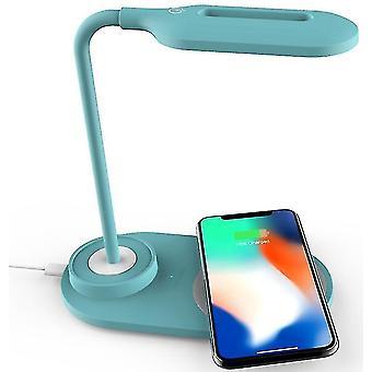 Bezdrátová nabíječka stolní lampy, 2 v 1 nabíjení venkovního domácího osvětlení (modrá)