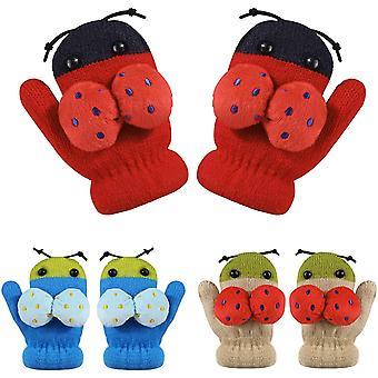 3 Paar Baby Kleinkind Winterhandschuhe,Helle Süße Gestrickte Magische Stretchhandschuhe,Kältesichere