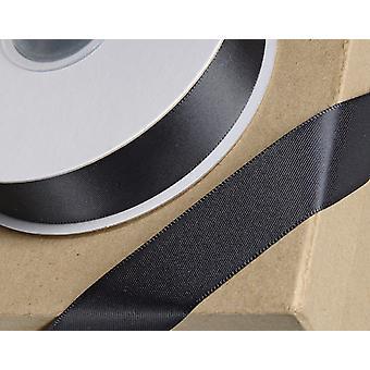 25m negro 15mm cinta de satén ancho para artesanías