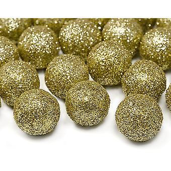 LAST FEW - 25 Gold 2cm Glitter Ball Embellishments for Wreaths & Table Decor