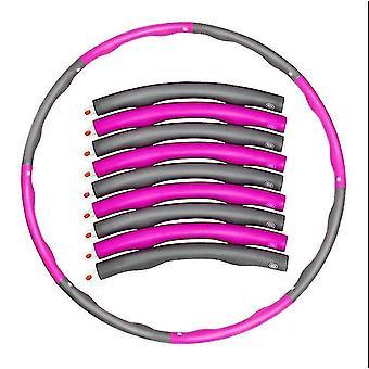 Detachable portable 8-Part hula hoop, Abdominal Exerciser Fitness Strength Hula Hoop(Pink And Gray)