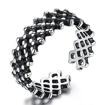 3PCS koper sieraden vrouw ring retro mesh zwarte opening grootte verstelbare ring