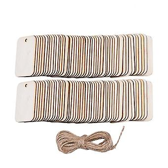 Rectangle Wooden Hanging Label With Hemp Ropes