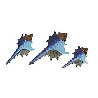 Set of 3 Blue Metal Seashell Decorations Wall Hanging Sculpture Beach Home Decor