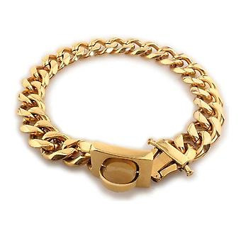 Coleiras de corrente de cachorro metálico colar de aço inoxidável para cães grandes gola dourada (15x35CM)