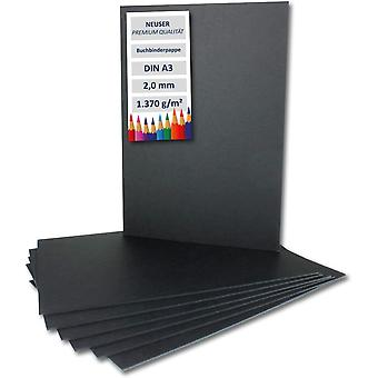 10x Buchbinderpappe DIN A3 in Schwarz, Stärke: 2,0 mm, Grammatur: 1.370 g/m²