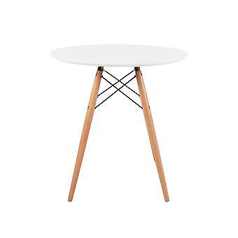 Fusion Living Eiffel Conjunto Inspirado – Pequena Mesa de Jantar Circular Branca com Pernas de Madeira de Faia com Duas Cadeiras - Várias Cores