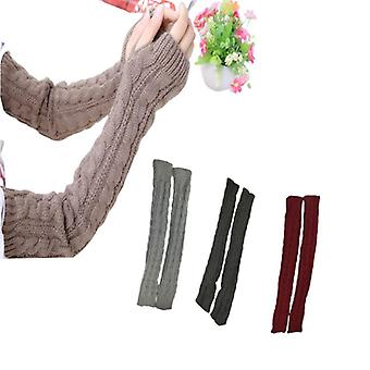 Winter Women Warmers Knitted Arm Sleeve Knitted Fingerless Warm Sleeves Cover