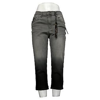 DG2 door Diane Gilman Women's Petite Jeans Stretch Dip Dye Crop Gray 743663