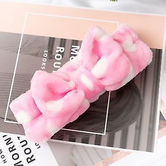 2pcs Vask Face Hair Holder Hårbånd Soft Warm Coral Fleece Bow Animal Ears Pandebånd til kvinder Piger Turban Fashion Hair Tilbehør
