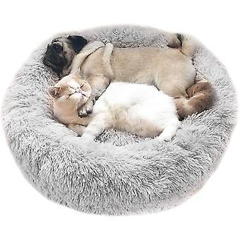 Ágy plüss plüss kerek szürke fény bevásárlókocsi körül fészket társ állatfészek plüss vastag macskák és kutyák mély alvás