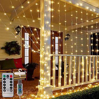Lumières de rideau 300 Led Noël Fée Guirlandes Lumineuses Avec 8 Modes Télécommande