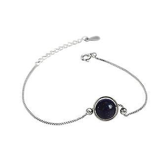 925 Sterling Zilveren Geometrische Cirkel Blauwe Zandsteen Armband Sieraden