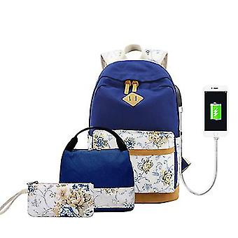 Korean Style 3 Pcs Canvas Backpack Student School Bag With Usb