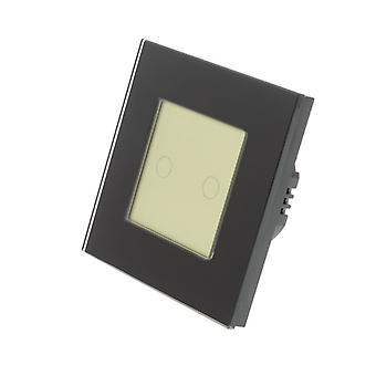 I LumoS Black Glass Frame 2 Gang 1 Way WIFI/4G Remote & Dimmer Touch LED Light Switch Gold Insert