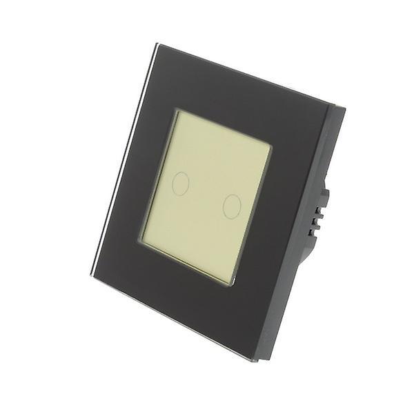 I LumoS Black Glass Frame 2 Gang 2 Way Touch LED Light Switch Gold Insert