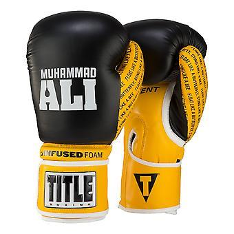 Titel boksen Ali geïnfundeerd schuim haak en lus opleiding Boxing handschoenen - zwart/geel
