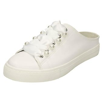 Ladies Spot On Backless Lace Up Pumps - White Synthetic - UK Size 8 - EU Size 41 - US Size 10