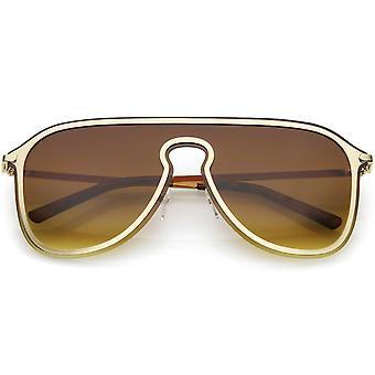 Futurystyczny daszek bez oprawek Aviator Okulary wykończenia metalowe Mono obiektyw 57mm