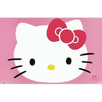 こんにちはキティの顔のポスター印刷