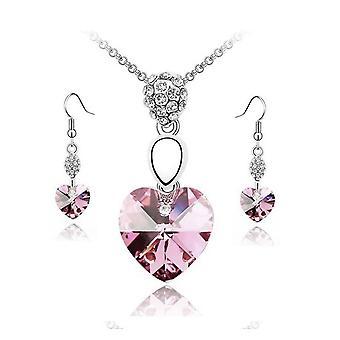 Leichte rosa Kristall Elemente Herz Anhänger Halskette und Ohrringe Set Schmuck