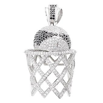 925 iced out sterling silver pendant - BASKET BALL