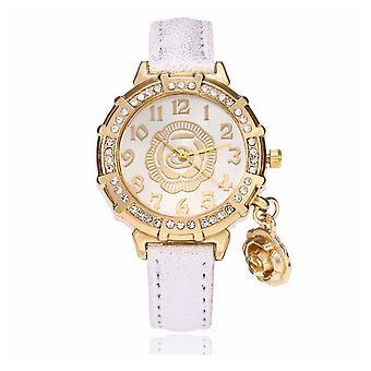 Chic fleur or jaune Watch luxe pierres temps élégant blanc