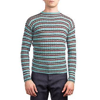 Prada Men's Wool Knitted Crew Neck Striped Sweater Blue Teal