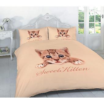 3D Effect Sweet Kitten Multi Printed Duvet Quilt Cover Bedding Set Pillow Case