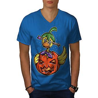 Halloween Funy Men Royal BlueV-Neck T-shirt   Wellcoda