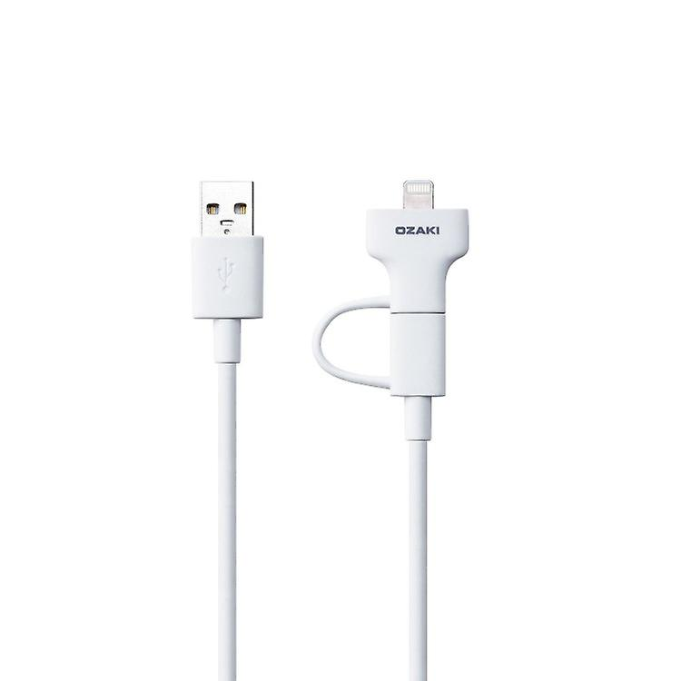 Ozaki OT225WH O! Tool combo Charger Micro-USB cable to lightning 1m white