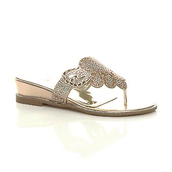 Ajvani womens low mid wedge heel diamante evening toe post sandals mules