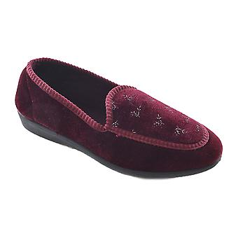 Ladies Floral Front Velour Mocassin Style Low Top Slippers