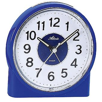 Atlanta 1986/5 alarm clock quartz analog blue quietly without ticking with light